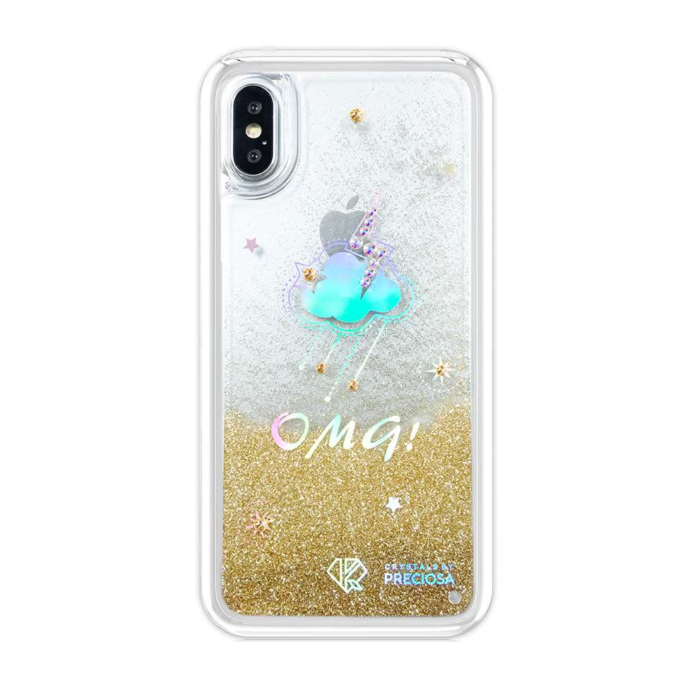 Carcasa Kavaro Weather Series decorata cu cristale originale Preciosa iPhone X auriu