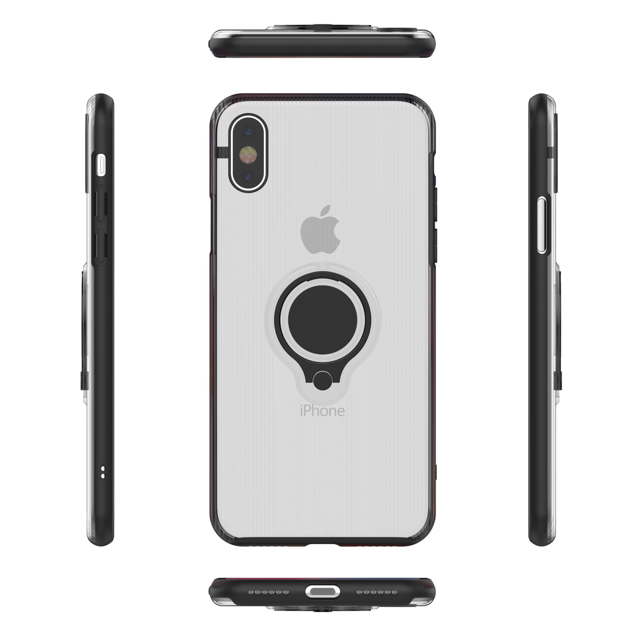 Husa Apple iPhone X Armor Ring cu inel magnetic Transparent