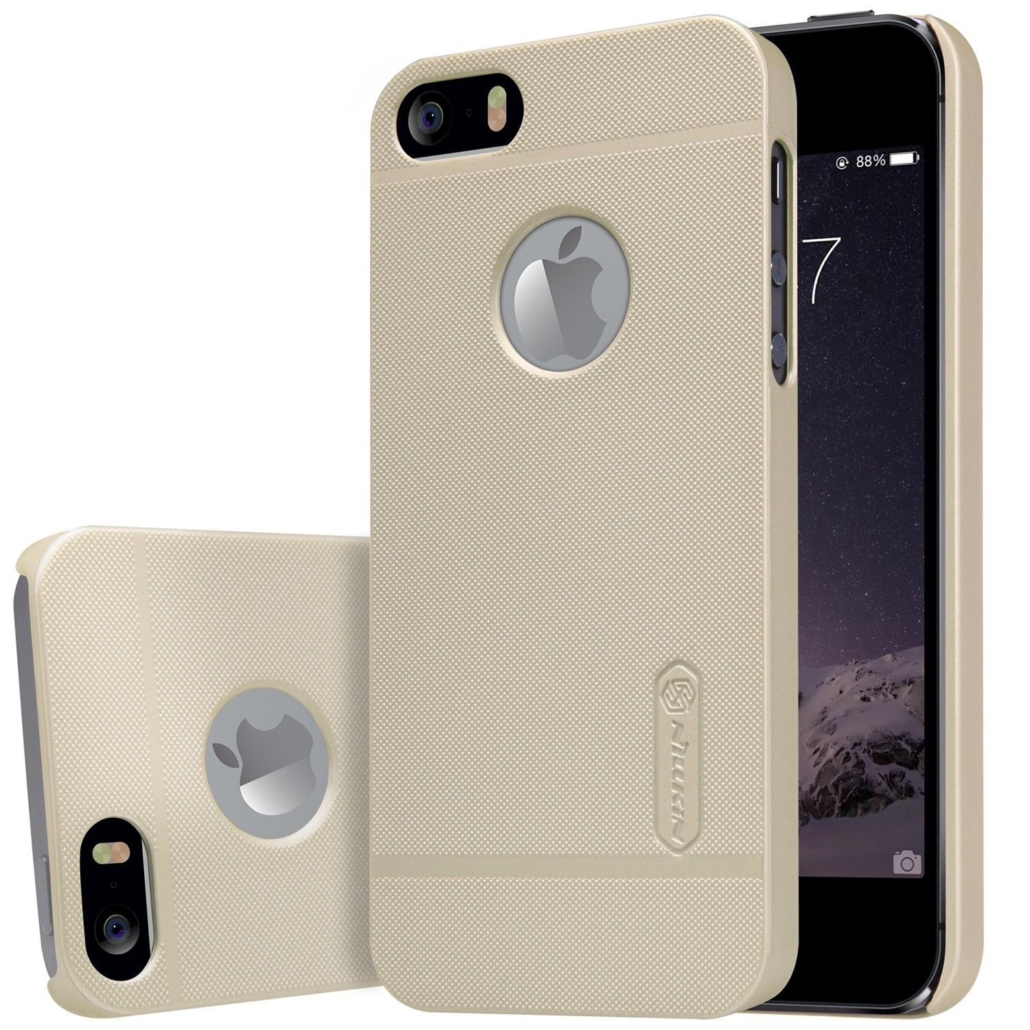 Husa Apple iPhone 5/5S/SE Nillkin Frosted Shield Auriu + Folie de protectie
