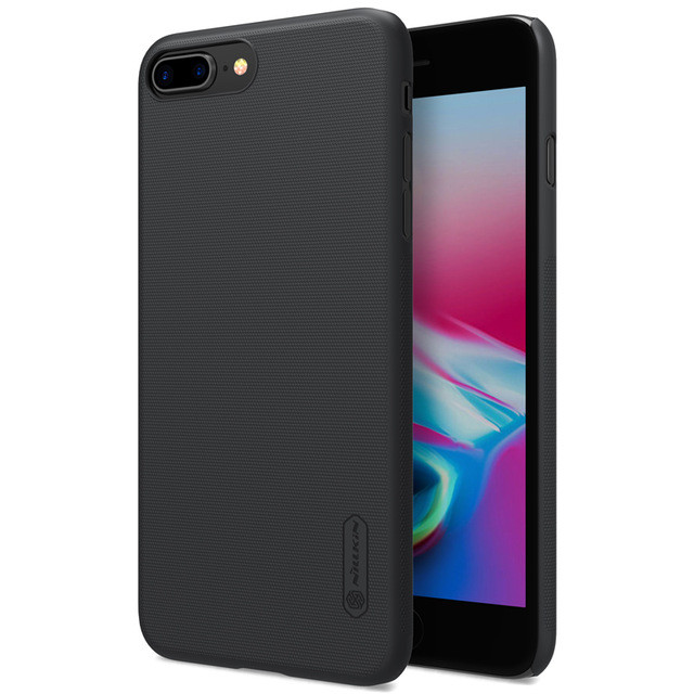 Husa Apple iPhone 8 Plus Nillkin Frosted Shield Negru + Folie de protectie