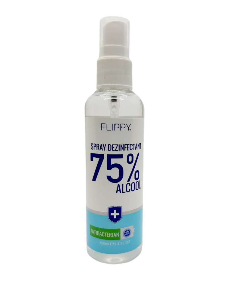Spray Dezinfectant Instant cu 75 % alcool Flippy, 100 ml